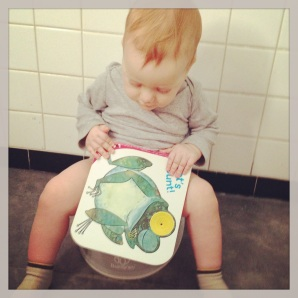"""7:28 am--who knew that counting was such good bathroom reading? we usually have potty success by the time we get to """"10 busy bees…"""""""