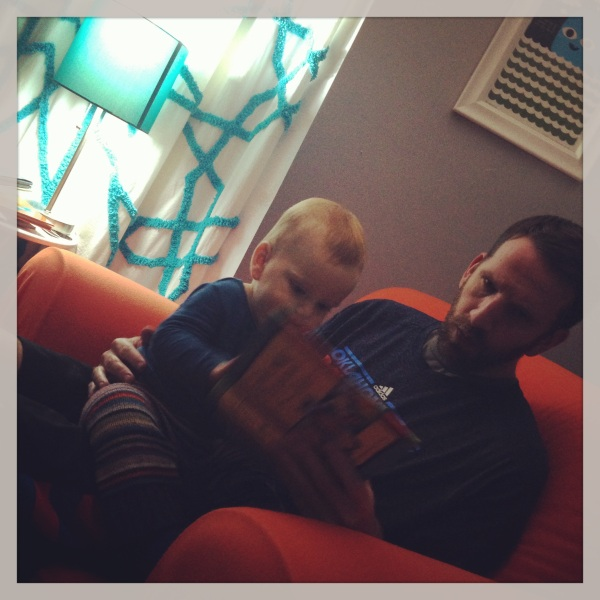 7:52pm--story time with dad. we read lots of books during the day, but this is the most important one. #JesusStorybookBible
