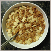 11:40pm--midnight cereal snack. as always. mixing it up (lee hates that). as always. munching and making tomorrow's to-do list while watching the @okcthunder. darn west coast games!
