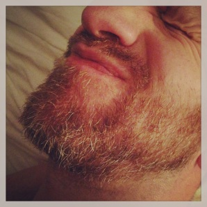 12:57am--#NoShaveNovember means than goodnight kisses are extra scratchy. (he's such a good sport, my goofball.) no energy for reading before bed tonight. signing off. goodnight!