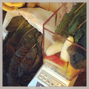 8:32 am--local organic kale in our morning smoothie makes me happy.
